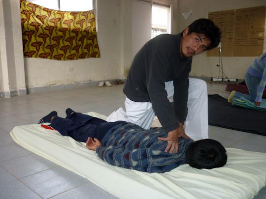 mission shiatsu perou beatrice bernard mai 2010 ; enseignement du shiatsu à Lamay
